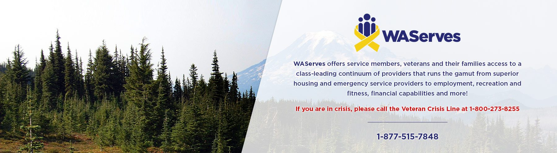 If you are in crisis, please call the Veteran Crisis Line at 1-800-272-8255.  WAServes - Greater Puget Sound offers service members, veterans and their families access to a class-leading continuum of providers that runs the gamut from superior housing and emergency service providers to employment, recreation and fitness, financial capabilities and more!